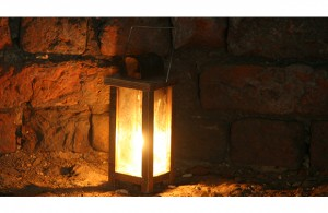 Castle visit in torch light